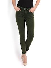 Calvin Klein Women Olive Green Skinny Fit Jeans