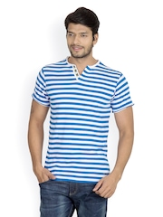 Men Blue & White Striped Henley T-shirt Camino