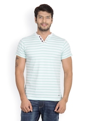 Men Green & White Striped Henley T-shirt Camino