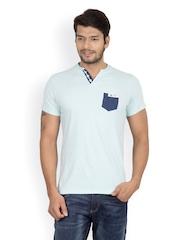 Men Green & White Striped Henley T-shirt Camino