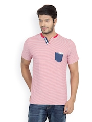 Men Red & White Striped Henley T-shirt Camino