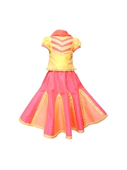 Campana Girls Yellow and Pink Lehenga Choli with Dupatta