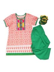 Campana Girls Orange & Green Salwar Kurta with Dupatta