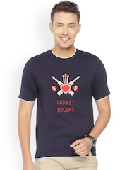 Campus Sutra Men Navy Printed T-shirt