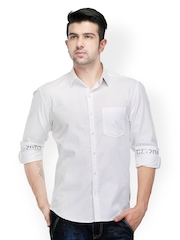 Canary London Men White Slim Fit Casual Shirt