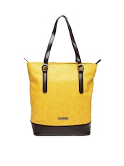Caprese Mustard Yellow & Brown Handbag