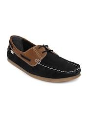 Carlton London Men Black Boat Shoes