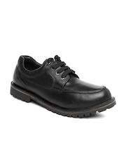 Carlton London Men Black Leather Casual Shoes