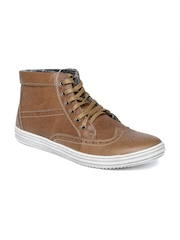 Carlton London Men Brown Leather Sneakers