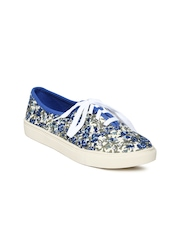 Carlton London Women Blue & Cream-Coloured Floral Print Casual Shoes