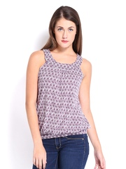 By Debenhams Women White & Purple Printed Top Casual Collection