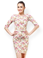 Cation White Floral Print Sheath Dress
