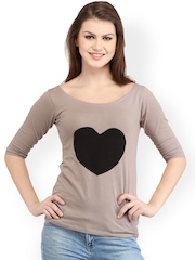 Cation Women Beige And Black Top