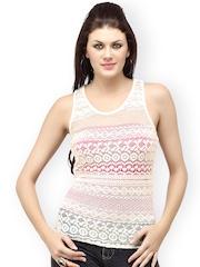 Cation Women White Racerback Crochet Top