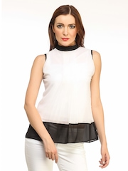 Cation Women White & Black Top