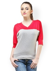 Cation Women Red & Grey Top