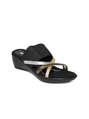 Catwalk Women Black & Bronze Toned Sandals