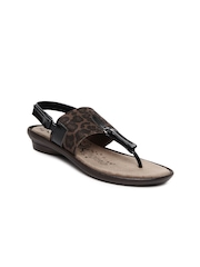 Catwalk Women Black & Brown Printed Sandals