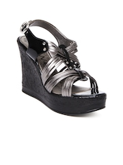 Catwalk Women Gunmetal Toned Wedges