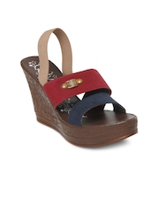 Catwalk Women Navy Blue and Red Wedges