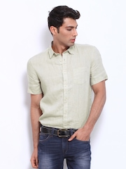 Celio Men Beige Linen Casual Shirt