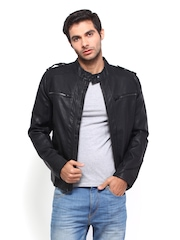 Men Black Biker Jacket Celio