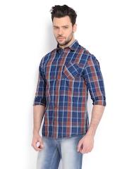 Celio Men Blue & Rust Orange Checked Casual Shirt