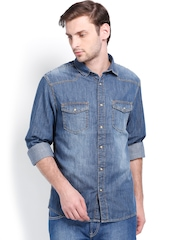 Celio Men Blue Denim Casual Shirt