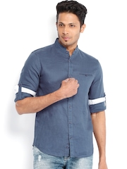 Celio Men Blue Linen Casual Shirt
