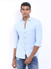 Celio Men Blue Linen Slim Fit Casual Shirt