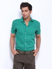 Celio Men Green Linen Casual Shirt