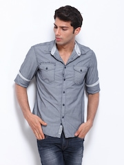 Celio Men Grey Striped Casual Shirt