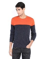 Celio Men Navy & Orange Sweater