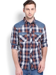 Celio Men Brown & Navy Checked Casual Shirt