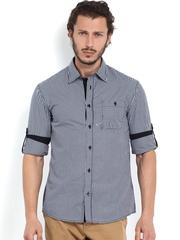Celio Men White & Navy Checked Slim Fit Casual Shirt