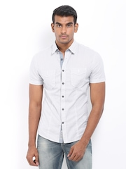 Celio Men White Striped Slim Fit Casual  Shirt