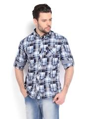 Celio Men White & Blue Checked Slim Fit Casual Shirt