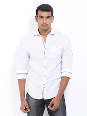 Celio Men White Dot Print Linen Slim Fit Casual Shirt
