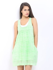 Chemistry Green & Off-White Printed A-Line Dress