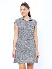 Chemistry Navy & White Printed Shirt Dress