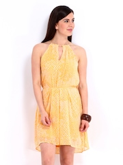 Chemistry Yellow Printed Fit & Flare Dress