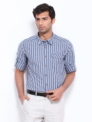 Cherokee Men Blue & White Striped Slim Fit Casual Shirt
