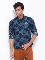 Cherokee Men Blue Camouflage Print Slim Fit Casual Shirt