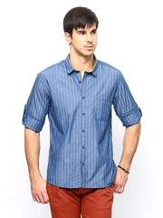 Cherokee Men Blue Striped Casual Shirt