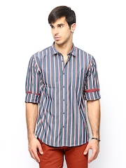 Cherokee Men Blue Striped Casual Shirt