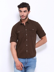 Cherokee Men Brown Slim Fit Casual Shirt