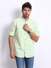 Cherokee Men Green & Yellow Striped Contemporary Fit Casual Shirt