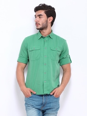 Cherokee Men Green Slim Fit Casual Shirt