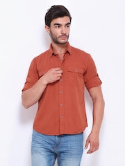 Cherokee Men Rust Orange Slim Fit Casual Shirt