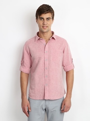 Cherokee Men Pink Linen Blend Casual Shirt